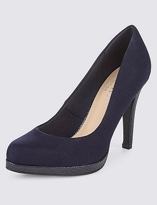 Almond Toe Platform Court Shoes with Insolia®, NAVY, catlanding