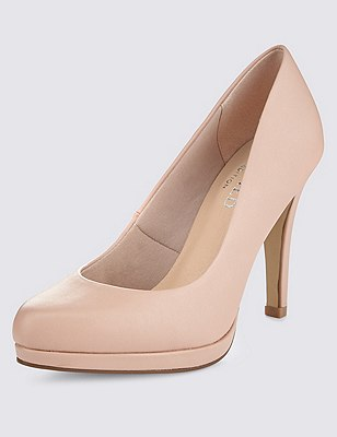Platform Court Shoes with Insolia®, NUDE, catlanding