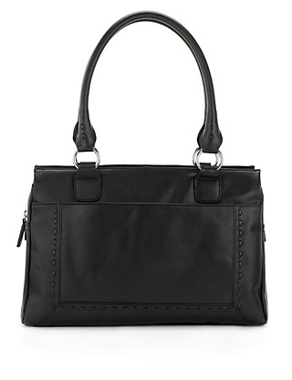 Leather Stab Stitch Tote Bag Clothing