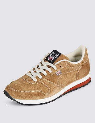 Suede Lace Up Trainers, BISCUIT, catlanding