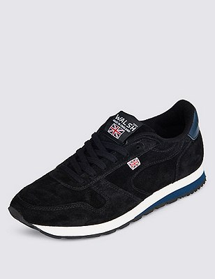 Suede Lace Up Trainers, BLACK, catlanding