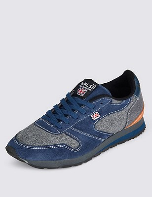 Leather Lace Up Trainers, NAVY MIX, catlanding
