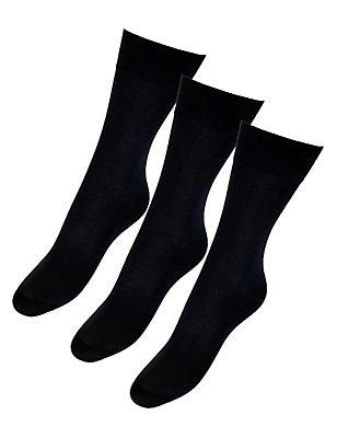 3 Pair Pack 40 Denier Opaque Ankle Highs, BLACK, catlanding