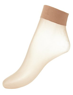 3 Pair Pack 7 Denier Bare Cooling Ankle High Socks, NATURAL TAN, catlanding