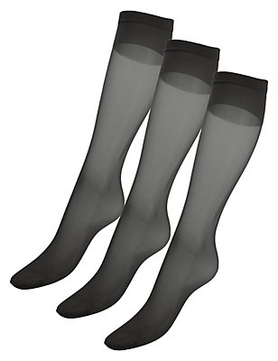 3 Pair Pack 15 Denier Medium Support Shine Knee Highs with Silver Technology, NEARLY BLACK, catlanding