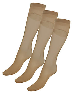 3 Pair Pack 15 Denier Medium Support Shine Knee Highs with Silver Technology, NATURAL TAN, catlanding