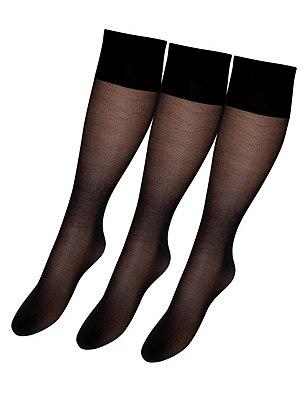 40 Denier Essential Opaque Knee Highs 3 Pair Pack, BLACK, catlanding