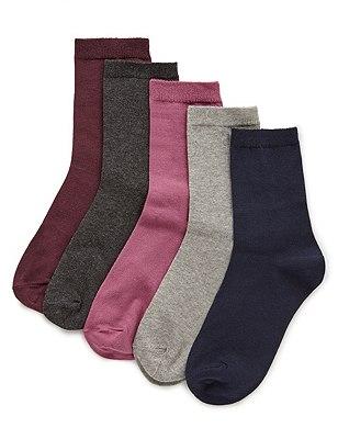 Essential Ankle Socks 5 Pair Pack, MAGENTA MIX, catlanding