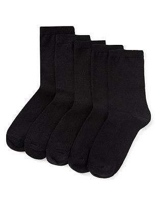 Essential Ankle Socks 5 Pair Pack, BLACK, catlanding