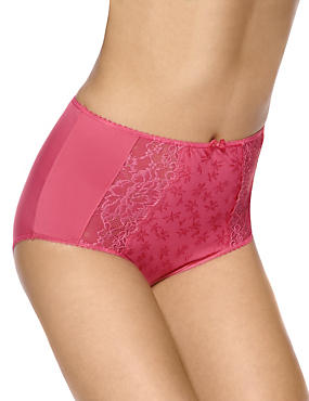 Jacquard Lace High Rise Full Briefs, ROSE, catlanding