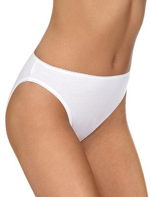 5 Pack Pure Cotton High Leg Knickers, WHITE, catlanding