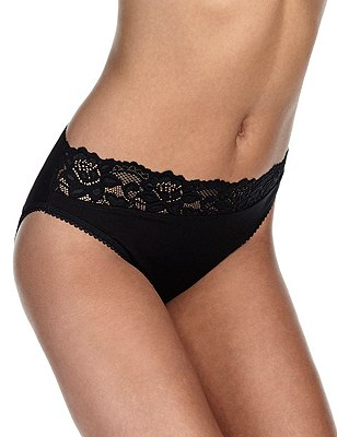 5 Pack Cotton Rich Lace Waist High Leg Knickers with New & Improved Fabric, BLACK, catlanding