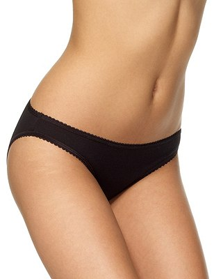 5 Pack Cotton Rich Bikini Knickers with New & Improved Fabric, BLACK, catlanding