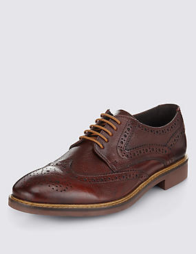 Leather Brogue Shoes, RED, catlanding