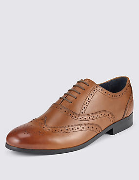 Leather Oxford Brogue Shoes, TAN, catlanding