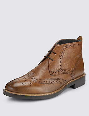 Leather Brogue Chukka Boots, TAN, catlanding
