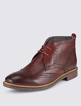 Leather Brogue Chukka Boots, BURGUNDY, catlanding