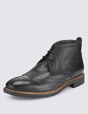 Leather Brogue Chukka Boots, BLACK, catlanding