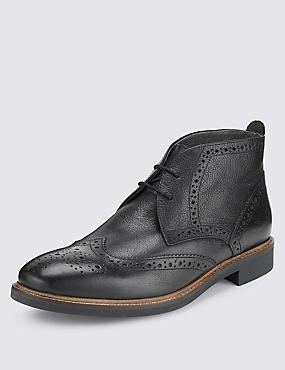 Bottines Chukka style Richelieux en cuir, NOIR, catlanding