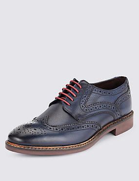 Leather Lace Up Brogue Shoes, BLUE, catlanding