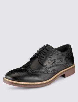 Кожаные туфли-броги на шнуровке
