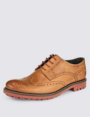 Leather Heavy Sole Brogue Shoes, TAN, catlanding
