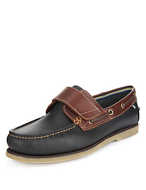 Navy Leather Riptape Boat Shoes