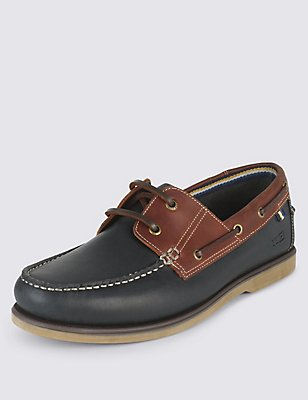 Leather Two Tone Lace-up Shoes, NAVY, catlanding