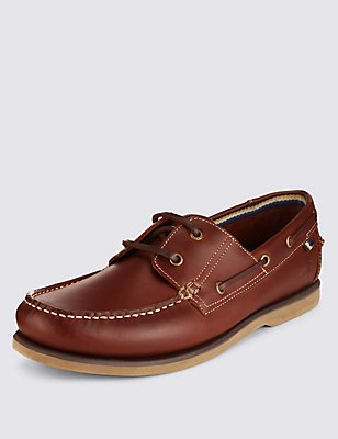 Leather Lace-up Boat Shoes, TAN, catlanding
