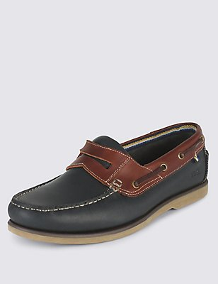 Leather Slip-on Boat Shoes, NAVY, catlanding