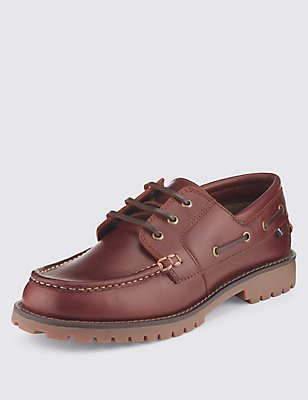 Freshfeet™ Leather Heavyweight Boat Shoes, TAN, catlanding