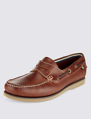 Leather Slip-on Boat Shoes, TAN, catlanding