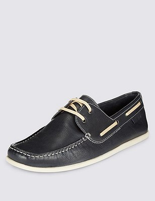 Leather Square Toe Boat Shoes, BLUE, catlanding