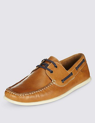 Leather Square Toe Boat Shoes, TAN, catlanding