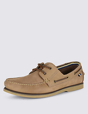 Leather Lace Up Boat Shoes, MUSHROOM, catlanding