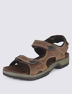 Leather Twin Strap Riptape Sandals, BROWN, catlanding