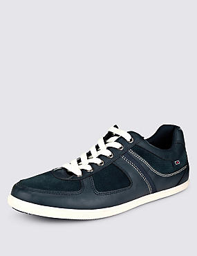 Leather Lace-up Trainers, NAVY, catlanding