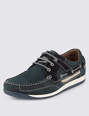 Leather Lace-up Sport Deck Trainers, NAVY, catlanding