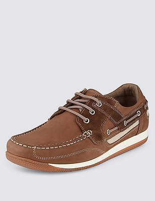 Leather Sport Trainers, TAN, catlanding