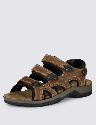Leather 3 Strap Sandals, MUSHROOM, catlanding