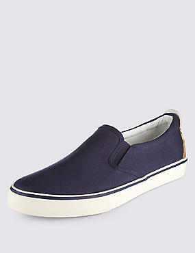 Slip-on Plimsolls, NAVY, catlanding