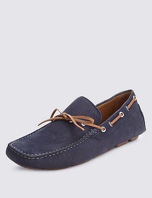 Leather Contrast Lace Driving Shoes, NAVY, catlanding