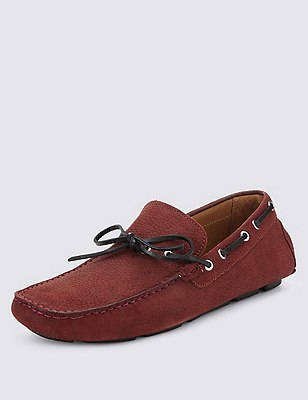 Leather Contrast Lace Driving Shoes, BURGUNDY, catlanding