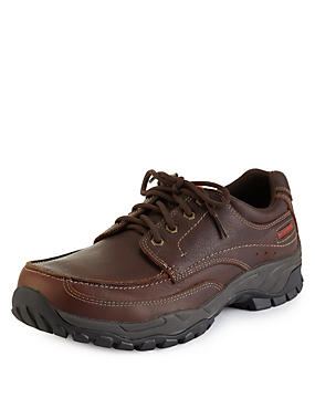 Brown Leather Lace Up Waterproof Shoes