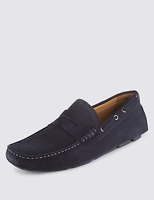 Suede Driving Slip-on Shoes, BLUE, catlanding