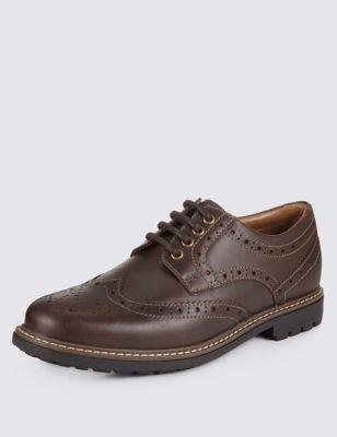 Кожаные туфли броги на высокой подошве
