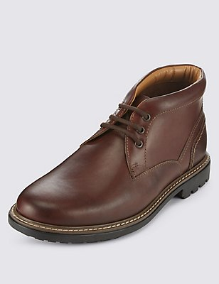 Leather Lace-up Gibson Chukka Boots, BROWN, catlanding