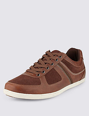 Leather Lace-up Trainers, TAN, catlanding