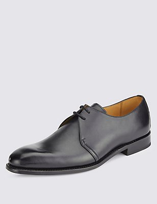 Leather Lace-up Derby Shoes, BLACK, catlanding