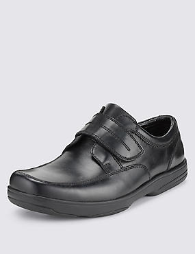 Big & Tall Airflex™ Leather Extra Wide Fit Riptape Shoes, BLACK, catlanding